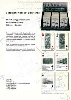 """Jatkosodan taistelutoverit -pelikortit  Sotahistorialliset pelikortit kertovat JR/50 4. komppanian vaiheista.  Kuvasarja valoittaa miesten arkista ja jokapäiväistä elämää """"siellä jossain"""". Suurin osa kuvista on ennen julkaisemattomia.   Kuvat on ottanut 4. komppanian päällikkö kapteeni Tauni Kilpinen sodan aikana.  Korttipakan taustakuvana on kopio alkuperäisestä peitepiirroksesta Hyrsylä - Ignoila taistelualuuelta."""