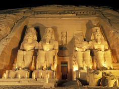 Night Shot of the Entrance to the Temple of Ramses II in Abu Simbel, Egypt