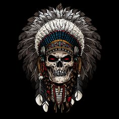 Want this Native American chief headdress on my right thigh with my grandpa's face instead of the skull. Maybe add the face paint as well. Native American Tattoos, Native American Art, Koch Tattoo, Indian Skull Tattoos, Indian Headdress Tattoo, Tattoo Bein, Totenkopf Tattoos, Skull Pictures, Skull Artwork