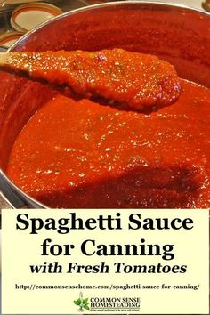 Slow cooked and loaded with flavor, this homemade canning spaghetti sauce is a great way to preserve the harvest. Never buy sauce from the store again. recipe sauce Spaghetti Sauce for Canning Made with Fresh (or Frozen) Tomatoes Home Canning Recipes, Cooking Recipes, Healthy Recipes, Canned Tomato Recipes, Pressure Canning Recipes, Canned Tomato Sauce, Garden Tomato Recipes, Tomato Sauce Recipe, Kale Recipes
