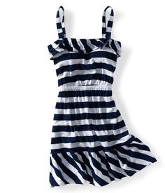 aeropostale navy and white ruffled strip dress....will be great for the beach this summer!