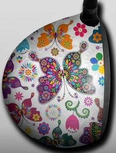 Personalized Golf Driver Skin - Designer - Butterflies and Flowers by Big Wigz Skins. Buy it @ ReadyGolf.com
