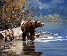 love the deep rich blues. Bear Pics, Bear Photos, Bear Pictures, Bear Paintings, Wildlife Paintings, Wildlife Art, Animal Drawings, Drawing Animals, Bear Cartoon