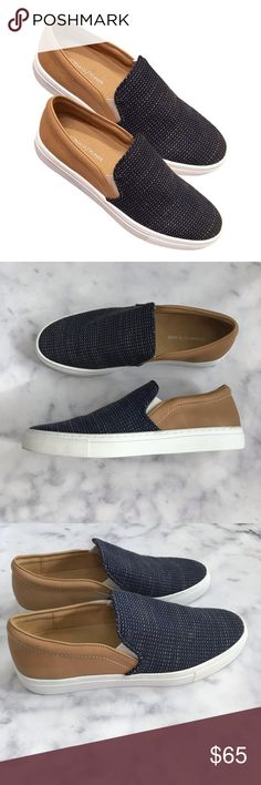 791a4184c0b Donald Pliner Albin Leather Textile Slip-on tan leather and contrast navy  tweed textile Albin