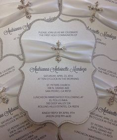 Communion Invitation Baptism Invitation Christening Invitation Confirmation Invitations Cross Invitation Religious Invitation Glitter Invite