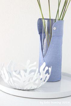 kebo homing: Was man aus einem Hemdärmel schönes machen kann... Upcycling-Vase...
