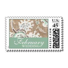 Wedding Damask Cream Chocolate Mint Invitations Stamps