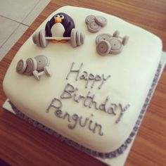 Penguin themed fresh cream and jam filled vanilla sponge decorated with marshmallow fondant - delicious xx