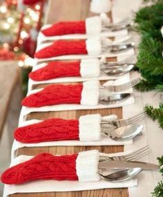 mini stocking table settings - such a cute Christmas decoration!