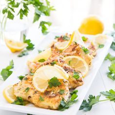 """This pan-seared, moist and tender Chicken Francais toppedwith a buttery lemon sauce makes for a light and refreshing summer chicken dinner. Oh my, has grocery shopping turned into a disaster or what?! My daughter has definitely entered the """"terrible twos."""" I just have to laugh at my younger self who thought """"oh my child is...Read More »"""