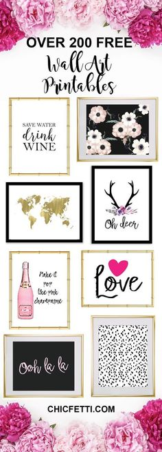 Over 200+ Free Printable Wall Art from Chicfetti - easy wall art diy - Just print and frame!
