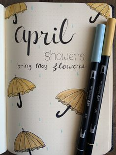 Monthly cover page bullet journal April umbrellas and rain. April showers bring May flowers Birthday Bullet Journal, April Bullet Journal, Bullet Journal Cover Ideas, Bullet Journal Quotes, Bullet Journal Writing, Bullet Journal Spread, Bullet Journal Ideas Pages, Journal Covers, Bullet Journal Inspiration