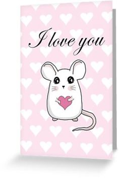 'Cute mouse - Valentines day' Greeting Card by ValentinaHramov Gift Wrapping Supplies, Creative Gift Wrapping, Creative Gifts, Christmas Gift Wrapping, Christmas Gifts, Cute Mouse, Veterans Day, Valentine Day Cards, Wraps
