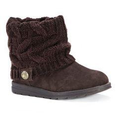 Women's Muk Luks Patti Sweater Ankle Boots - Brown 10