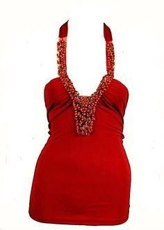 Red Sequins Beaded Jewel Embellished Halterneck Top