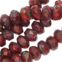 Czech Fire Polished Glass, Donut Rondelle Beads 3.5x5mm, 50 Pieces, Dark Red Travertine