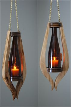 Wooden lamps design - Smart DIY Wine Bottle Lamp Design Ideas You Must Try Garrafa Diy, Bathroom Wood Shelves, Wood Shelf, Wall Wood, Rustic Shelves, Into The Woods, Creation Deco, Diy Bottle, Glass Bottle