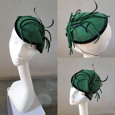 Green and Black Felt Fascinator Velvet and Feathers St. Patrick Day Valentine Gift for Her Occasion Headpiece Cocktail Hat Church Hat JCN by JCNfascinators on Etsy