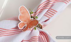 Colorful Butterfly Napkin Ring tutorial perfect for a shower!