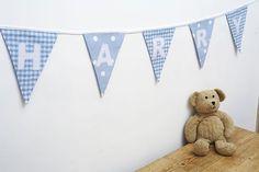 BoYs BLUE PeRsoNaLiSeD bUnTiNg - baby boys present CHRISTENING - £2 per flag | eBay