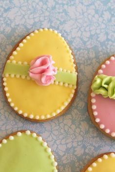 Cookie eggs - my favourite combo of lemon, green and pink!