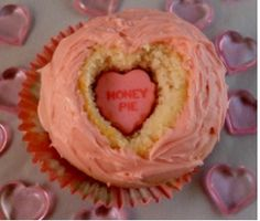 Valentine's Day Cupcakes with a Brach's Conversation Heart Inside