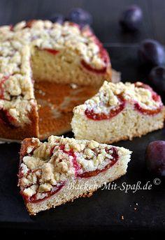 Buttermilk cake with plums, Krispie Treats, Rice Krispies, Plum, Muffin, Goodies, Breakfast, Sweet, Food, Bakken