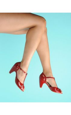 Pinup Girl Clothing- T-Strap Classic Crossover Heels in Red | Pinup Girl Clothing