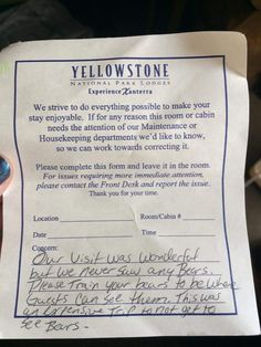 My friend works at Yellowstone and some guests actually left this with the front desk upon checkout this morning - Imgur