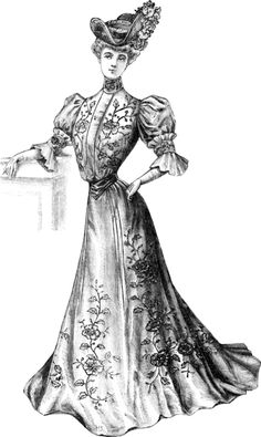 French dress of 1906 is trimmed with embroidery or passementerie. The wide-brimmed hat is cocked up on one side. Elbow-length sleeves are worn with gloves.