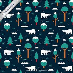 Winter pattern with polar bears and trees Free Vector