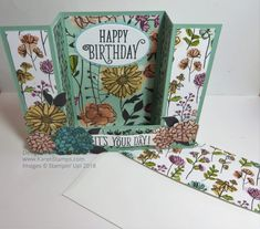 Try this Bridge Card technique for a new design for a birthday card, easy to make and looks spectacular. Handmade Birthday Cards, Handmade Cards, Bridge Card, Stampin Up Cards, 3d Cards, Fancy Fold Cards, Card Making Tutorials, Card Kit, Flower Cards