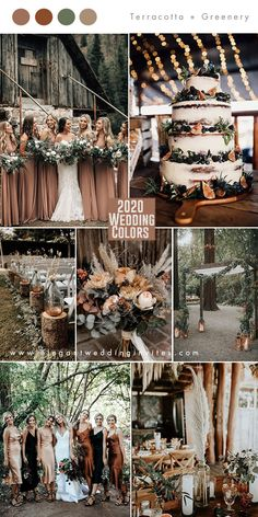 terracotta and greenery - boho theme -forest 2020 wedding color trends. Check it out. Theme Weddings To Die For Top 10 Wedding Color Trends to Inspire in 2020 Rustic Wedding Colors, Fall Wedding Colors, Unique Wedding Themes, Wedding Color Themes, Copper Wedding Decor, Grey Wedding Theme, Champagne Wedding Colors, Unique Weddings, Rustic Boho Wedding