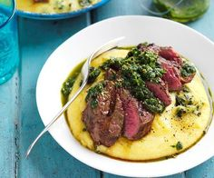 Grilled steak with salsa verde and soft polenta recipe - By Australian Women's Weekly, This tasty steak dish is perfect for a family dinner. Served on a bed of creamy polenta, the tender beef is complimented beautifully by a fragrant homemade salsa verde. Grilled Steak Recipes, Grilled Meat, Grilling Recipes, Grilled Steaks, Vegetarian Grilling, Grilling Ideas, Healthy Grilling, Barbecue Recipes, Grilled Vegetables