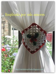 "Granny Square Curtain TIe Backs ~ Lovely idea! This patt is apparently not in English, but this would work well with any 6"" (or size desired) granny square pattern."