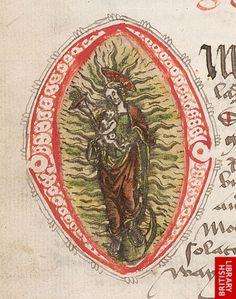 Coloured woodcut with the Virgin and Child stuck in the initial 'O', at the beginning of the prayer to the Virgin O clementissime.   Origin:Scotland?