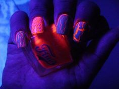 crackle over black light reactive nail polish!!!