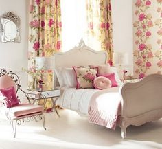 Cute and Feminine Bedroom Interior Design with Flowers Decoration Charming Bedroom Interior Decoration with Excellent Furniture