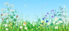 meadow flowers border ink - Google Search