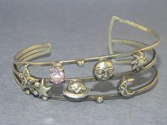 VINTAGE MOON, SUN, & STARS PINK STONE Sterling Silver Jewelry Bracelet Cuff  Y24