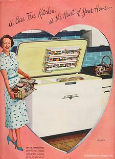 Crosley Shelvador Freezer 1953 - Mama Wyatt's Freezer that she had in her basement.  That door was so heavy to lift.  I remember she had is packed so full and sometimes I would have to take the baskets out and dig down, almost falling in, to get what she wanted.
