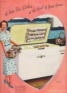 #freezer #kitchen #woman #homemaker #housewife #1950s #ad #vintage #fifties #food #retro