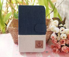 Diy Handmade Cloth Art Flip Cover Case RR Dark Denim color with Anchor for Samsung Galaxy S4 S3 S2 Note2 1 Apple iPhone 4 s 5 5s HTC One X S
