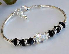 Swarovski Crystal Black Bangle Bracelet by HeartofGems on Etsy Swarovski Jewelry, Beaded Jewelry, Swarovski Crystals, Swarovski Bracelet, Silver Jewelry, Gold Jewellery, Gemstone Bracelets, Bangle Bracelets, Bijoux Fil Aluminium