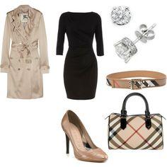 solid black dress, coat, belt w/ mathing purse.