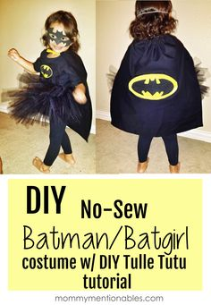 DIY No-Sew Batman Batgirl Costume w/DIY Tule TuTu #superhero #Halloween #diycostume