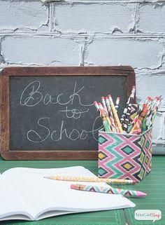 Decoupaged Pencils #decoartprojects #backtoschool
