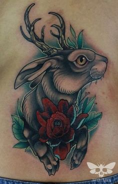coveruo, Jackalope tattoo by javierfranco Rabbit Tattoos, Wolf Tattoos, Tattoo Set, I Tattoo, Animal Tattoos For Women, Sketchy Tattoo, Makeup Tattoos, Traditional Tattoo, Traditional Art