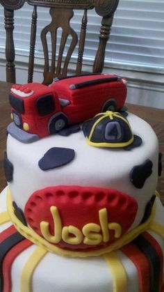 Fire Truck Cake.  https://www.facebook.com/CakenLoveBakery