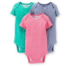 Carters Girls 3 Pk S/S Bodysuits Hearts (6 Months)